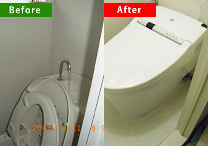 狭いトイレを広く使うため、タンクレスでコンパクトな便器に